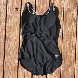 Speedo Black One Piece Swim Suit Removable Pads